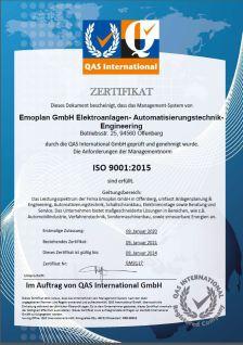 ISO 9001-2015 Zertifikat
